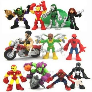 12X Marvel Super Hero Squad Spider Man Iron Man Figure Xmas Gift D88A