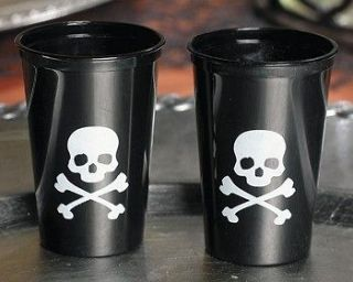 50 Skull & Crossbone Plastic Shot Glasses 1 1/2 Ounces Sealed