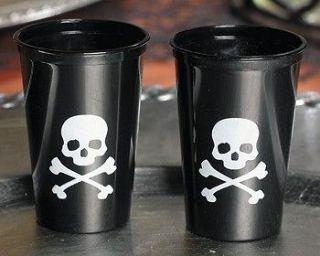 50 Skull & Crossbone Plastic Shot Glasses 1 1/2 Ounces Sealed
