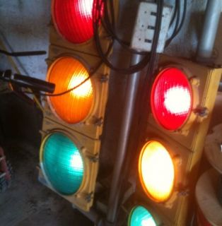 Working Vintage Dual Stop Traffic Light Plug In With Switches