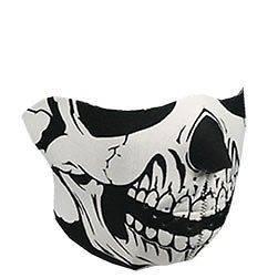 Reversible Motorcycle Biker Neoprene Face Mask   Half Face Ghost Skull