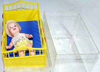 Suzy Cute Doll with crib, matress and clear plastic case 1964 deluxe