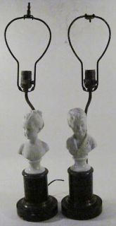 Antique White Bisque Porcelain Figurines Boy, Girl Mounted as Lamps