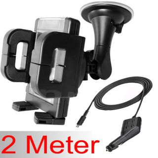 2M 2 METER LONG MICRO USB IN CAR CHARGER & WINDSHIELD PHONE HOLDER
