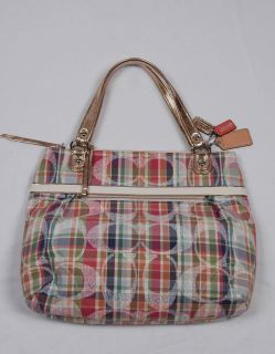 NWT COACH Poppy Madras Glam Tote #19611 Multicolor