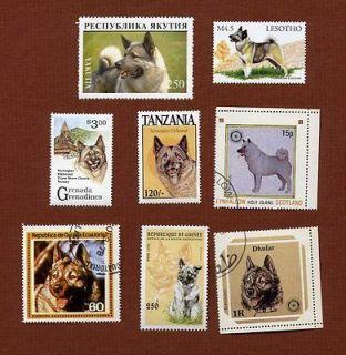 Norwegian Elkhound dog postage stamps set of 8