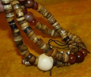 Amazing Authentic Sacred Old Antique Tibetan Kapala Bone Prayer Beads