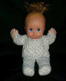 NURSERY BABY DOLL MATTEL 1989 STUFFED ANIMAL PLUSH TOY HEART BLUE