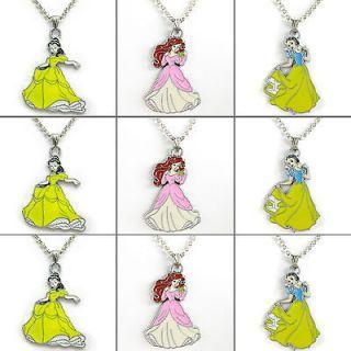 9PCS Disney Princess Bell&Snow White&Ariel Necklace Kids Birthday