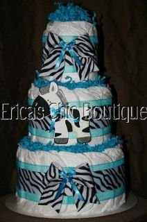 Black, White & Bright Blue Zebra Diaper Cake Baby Girl Shower Gift