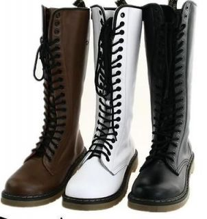 New Womens Lace Up Punk Rock Mid Calf Low Heel Military Combat Boots