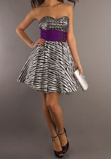 Dress Formal Sequin Bodice Sweet 16 Party Dance Gown Fun Zebra Print