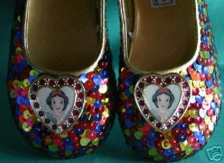 DISNEY PRINCESS SNOW WHITE SEVEN DWARFS SEQUIN COSTUME LADIES SHOES