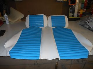 CLUB CAR GOLF CART CUSTOM SEAT SKINS   WHITE / TROPICAL BLUE