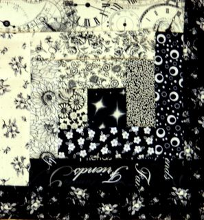 12} Log Cabin Quilt Block { Kit } ~ 33 x 44 {Black & White}
