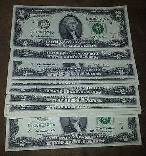 25 NEW CONSECUTIVE 2009 Cleveland $2 Two Dollar Bills Notes