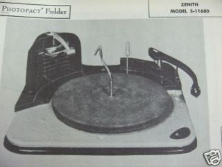 ZENITH S 11680 RECORD CHANGER TURNTABLE PHOTOFACT