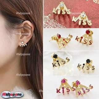 Korean Fashion Lovely Crystal Rhinestone Kiss Letter Stud Earring