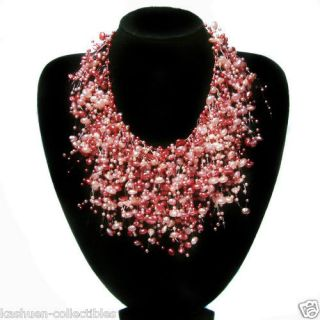 Red Bridal Wedding Jewelry Faux Pearl choker Chunky Statement NECKLACE