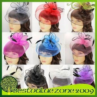 Womens Prom Party Wedding Bridal Feather Rose Top Hat Veil Fascinator