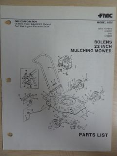 LAWN GARDEN EQUIPMENT MULCHING MOWER 22 INCH # 9535 PARTS LIST MANUAL
