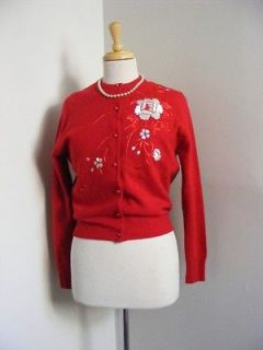 vtg 50s Red Wool PIN UP Cardigan Sweater PEARLS White ROSE Embroidery