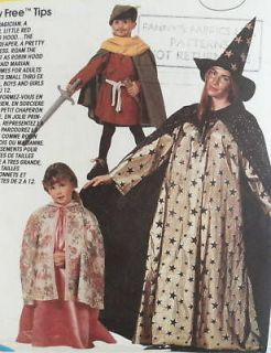 Robin Hood, Witch, Princess Childs Costume Pattern McCalls 6680