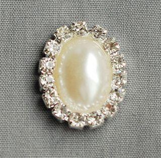 10 OVAL Diamante Rhinestone Crystal Pearl Button Buckle Wedding