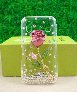 Bling Crystal Diamond Rose Hard Back Case for Samsung Galaxy Ace S5830