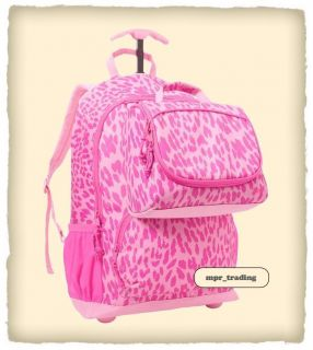 Girls Leopard Print Roller Rolling Backpack Lunch Box School Book bag