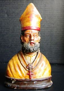 ANTIQUE CATHOLIC STATUE ST NICOLAS NICHOLAS BARI