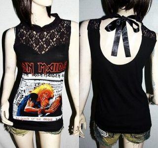 Iron Maiden Metal Punk DIY Gothic Victorian Lace Tank Top Shirt