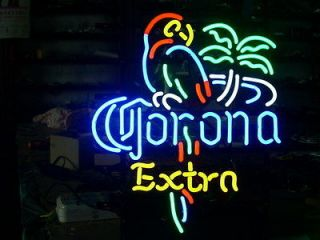EXTRA PARROT PALM TREE BOTTLE BEER REAL NEON LIGHT BEER BAR PUB SIGN
