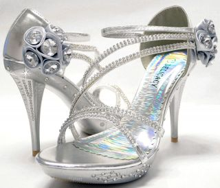 New womens shoes stilettos rhinestones wedding prom velcro silver US