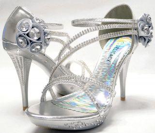 New womens shoes stilettos rhinestones wedding prom velcro silver US