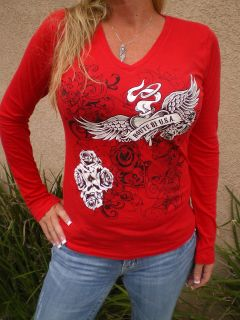 SUPPORT ROUTE 81 USA WOMENS RED T SHIRT LONG SLEEVE TATTOO ROSES