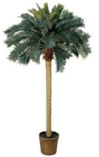 NEARLY NATURAL Artificial 6 Ft Sago Silk Palm Tree   Tropical Decor