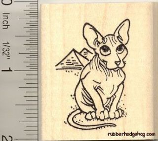 Hairless Cat Rubber Stamp G10602 Sphinx Peterbald egypt