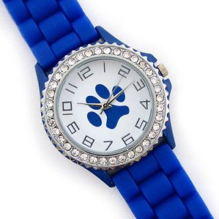 BLUE Paw Print Silicone Gel Rubber Band Crystal Bezel Womens WATCH