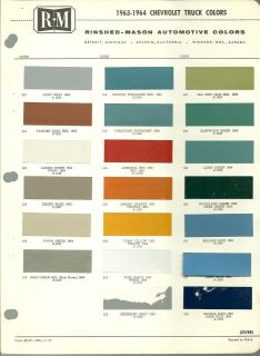 1963 / 1964 CHEVY TRUCK Color Chip Paint Sample Chart Brochure: R M