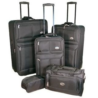 NEW CONFIDENCE 5 PIECE BLACK EXPANDABLE LUGGAGE SET WHEELED SUITCASES