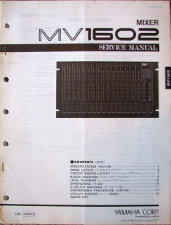 Original Yamaha Service Manual for the MV1602 Mixer.