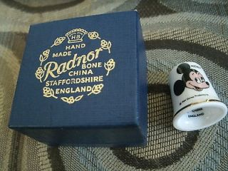 GIFT!! Mickey Mouse Radnor Bone China THIMBLE Staffordshire England