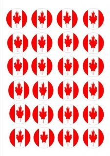24 X CANADA CANADIAN FLAGS EDIBLE CUP CAKE TOPPERS WAFER RICE PAPER