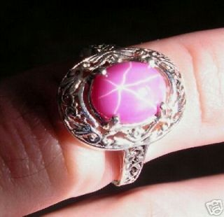 20X15MM LINDE LINDY STAR RUBY CREATED SAPPHIRE SS RING 001