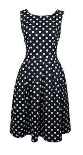 50s Style Black & White Polka Dot Day Dress Peggy Size 14 New