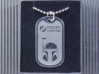 Star Wars Boba Fett Helmet Bounty Hunter Bantha Dog Tag Necklace