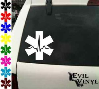 blue vinyl star of life window decal, sticker, EMT/ EMS Paramedic Fire