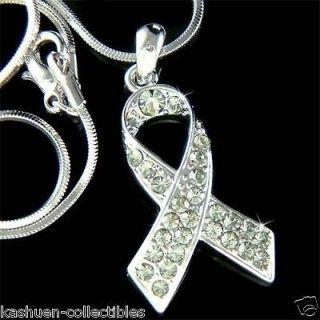 Swarovski Crystal Gray ~Brain Cancer & Tumor Awareness Ribbon