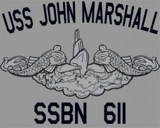 US Navy USS John Marshall SSBN 611 Submarine T Shirt